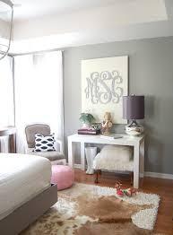... Entrancing Home Interior Decoration With Cowhide Rug : Extraordinary  Bedroom Decoration Ideas Using Light Grey Bedroom ...