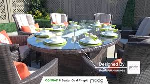 8 Seat Oval Gas Firepit Dining Table Conrad Chair On Vimeo