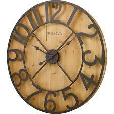 bulova 29 in h x 29 in w round gallery wall clock in knotty