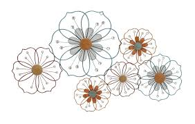 wall decor flower silhouettes fl large metal wall art combine regarding most up to date