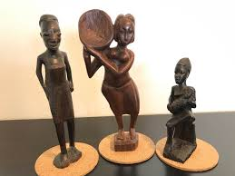 set of three african women wooden figurines wood carving africa ghana