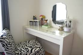 furniture rectangle white wooden vanity table with glass top connected by mirror on white wall