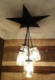 antiqued country rustic chandelier mason jar barn star primitive pendant