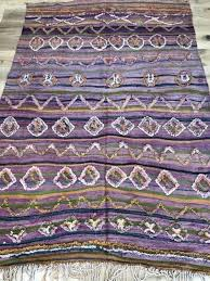 moroccan rug berber kilim pink striped design medium size