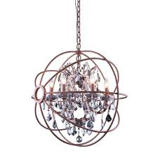 elegant lighting geneva 6 light rustic intent chandelier with silver shade grey crystal