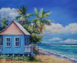 puerto rico painting cottage on the beach by john clark