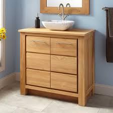 Bamboo Bathroom Cabinets 36 Narrow Depth Venica Teak Vessel Sink Vanity Bathroom