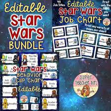 Star Wars Behavior Chart Bundle Star Wars Job Chart Behavior Chart Editable