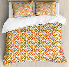 poppy duvet cover set king size flowering plants pattern botany themed warm petals and leaves decorative 3 piece bedding set with 2 pillow shams
