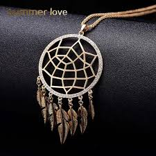 Dream Catcher With Crystals 100 Colors Long Leaf Feather Tassel Pendant Necklaces Round Hollow 71