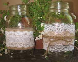 Decorating With Mason Jars And Burlap RESERVED LISTING MicheleBurlap Lace DIY Mason Jar Sleeves 90