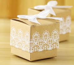 lace design square kraft paper box