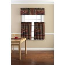 Kitchen Curtains At Walmart Mainstays Tahoe Cabin Printed Valance And Kitchen Curtains Set Of