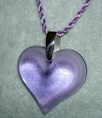 details about authentic lalique france parme purple heart coeur crystal pendant necklace nib