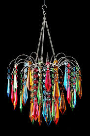 waterfall chandelier multi colored coloured crystals gypsy color instructions acrylic led changing