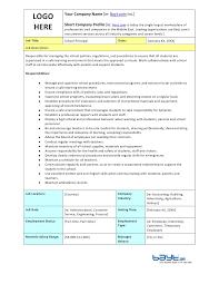 School Principals Job Description Template By Bayt Com