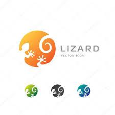 Lizard Logo Design Circle Lizard Icon Logo Design Stock Vector