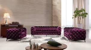 Casa Delilah Modern Purple Fabric Sofa Set