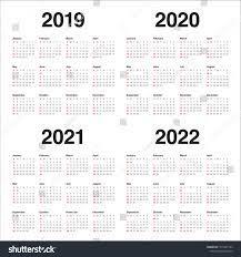 Year 2019 2020 2021 2022 Calendar Stok Vektör (Telifsiz) 1177281163