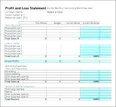 Profit Loss Statement Example Custom Profit And Loss Sheet Template Naserico