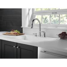 Delta Chrome Kitchen Faucets Delta Kate Single Handle Deck Mounted Kitchen Faucet With Soap