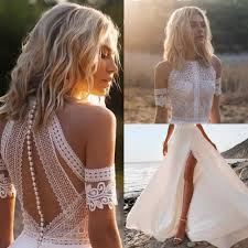 2019 Boho <b>Lace Mermaid Wedding</b> Dress <b>Sexy Backless</b> Robe De ...