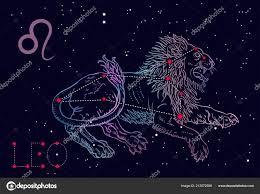 Leo Znamení A Souhvězdí Ležící Lev Na Kosmické Modré Pozadí S