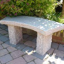 rustic curved stone bench pink