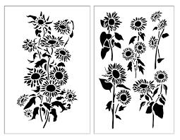 Sunflower Stencil Designs Amazon Com Sunflower Airbrush Wall Model Paint Flower