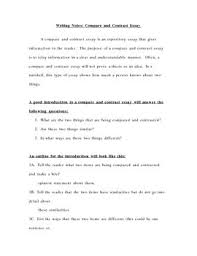 this is a set of notes that provides outlines and sample paragraphs for student to form compare and contrast essays the notes are structured so that essay compare and contrast examples