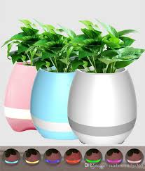 compre hot smart bluetooth flower pot potter speaker reor de piano en una planta real led colorido noche luz touch plant lámpara recargable a
