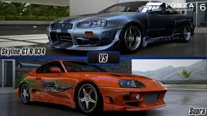 nissan skyline r34 paul walker. Modren Paul Forza Motorsport 6 Brianu0027s Nissan Skyline GTR R34 Vs Toyota  Supra Paul Walker Special  YouTube To Paul