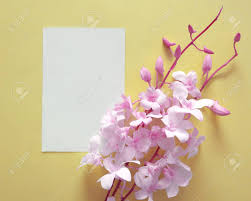 Paper Orchid Flower Bouquet Of Pink Orchid Flowers With Paper Card Note Creative