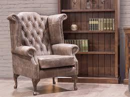Image Velvet Vintage Wing Chair In Brown Leather sofvinwchbrn Forrest Furnishing Vintage Wing Chair In Brown Leather Forrest Furnishing Glasgows