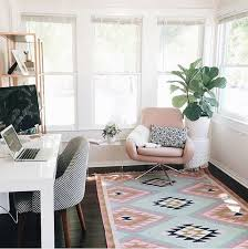 cozy home office. pretty pastel workspace with elodie rug cozy home office