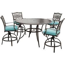 outdoor bar table and swivel chairs. hanover traditions 5-piece aluminum round outdoor bar-height dining set with swivel chairs blue cushions-traddn5pcbr-blu - the home depot bar table and