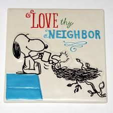 snoopy woodstock sharing coffee plaque