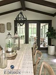 agreeable design mirrored closet. Sherwin Williams Agreeable Gray Paint Colour Via Kylie M E-design Farmhouse Style Dining Room With Wood Table, Dark Trim Design Mirrored Closet