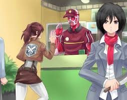 anime devil works at mcdonalds colossal titan is a part timer by zipskyblue d669 by