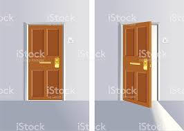 Opening And Close Door Stock Vector Art More Images of Closed