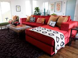 vibrant red sofas this look