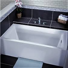 white vitality 60 alcove soaking bathtub with self leveling base overflow drain trim kit included free