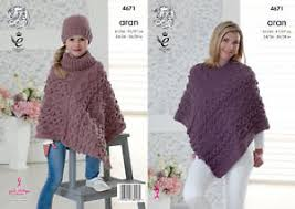 Knit Poncho Pattern Interesting Knitting Pattern Womens Girls Cable Knit Poncho Hat King Cole