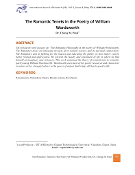 the r tic tenets in the poetry of william wordsworth dr chirag m the r tic tenets in the poetry of william wordsworth dr chirag m