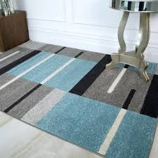 modern teal blue grey patchwork rugs for living room soft non shed geometric rug and green