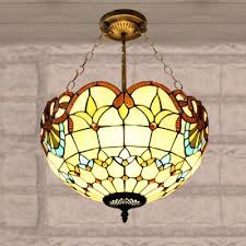 2 Light Beige Bowl Shade Stained Glass 12 Inch Tiffany Chandelier Pendant  Lighting