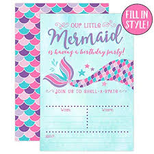 Birthday Invatations Your Main Event Prints Mermaid Birthday Invitations Pink And Purple 20 Fill In Mermaid Party Invitations With Envelopes