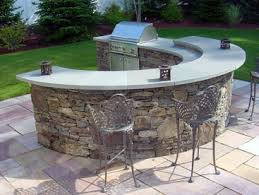Delighful Stone Patio Bar Curved Bi Level With Blue Top Inside Simple Design