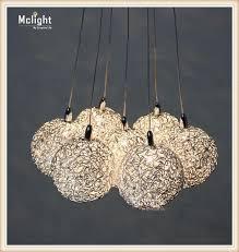 large long stair e14 round ball chandelier 7 lights res de teto glass pendant lamps modern home lighting fixtures