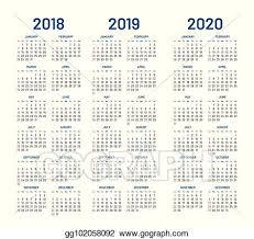 November 2020 Calendar Clip Art Vector Stock Year 2018 2019 2020 Calendar Vector Stock